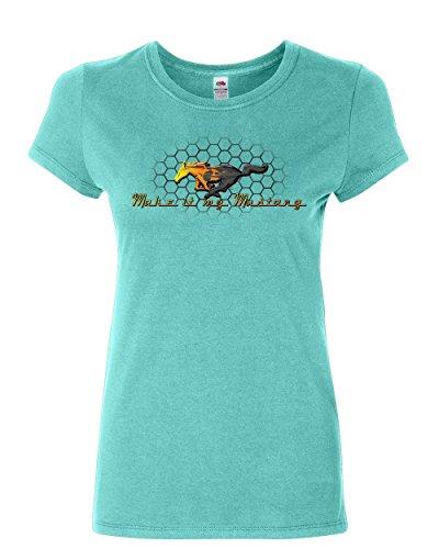 Horse Grille (Make it My Mustang Women's T-Shirt Honeycomb American Classic Fire Horse Shirt Light Blue S)