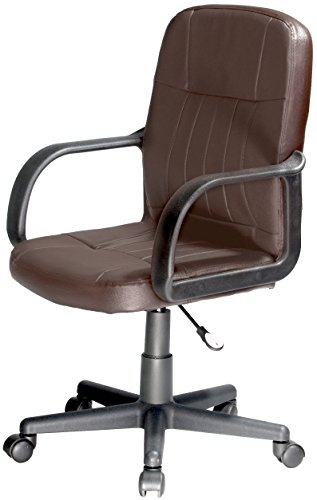 Comfort Products Mid-Back Leather Office Chair, Brown