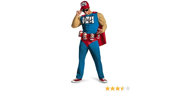 MyPartyShirt Duffman Deluxe Adult Costume Muscle The Simpsons Duff ...