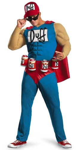 Duffman The Simpsons Deluxe Adult Muscle Costume-Adult XL