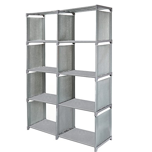 Jollyoner 4-tier Storage Cube Closet Organizer Shelf, DIY 8-cube Bookcase Cabinet without Doors for Bedroom, Living Room and Office Gray by Jollyoner