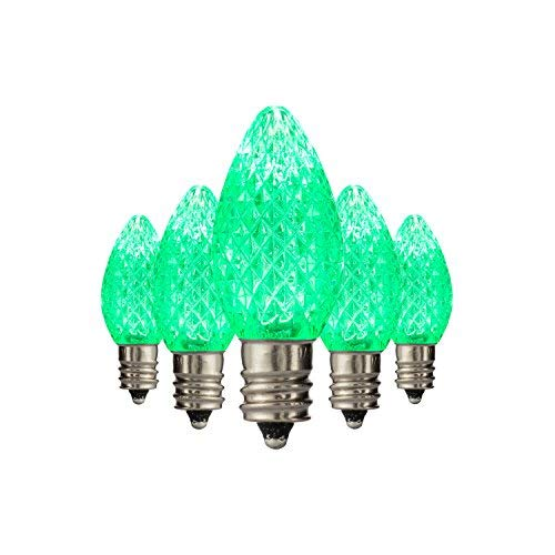 Holiday Lighting Outlet LED C7 Green Replacement Christmas Light Bulbs, Commercial Grade, 3 Diodes (Leds) in Each Bulb, Fits Into E12 Sockets, 25 Bulb Count