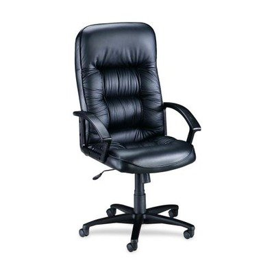 Lorell Tufted Leather Executive High-Back Chair - Leather Black Seat - Black Frame - Lorell Executive Frame