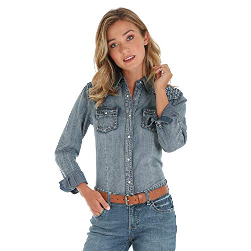 - Wrangler Women's Retro Long Sleeve Western Fashion Shirt, Denim Stitch XL