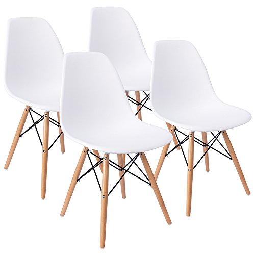 Mid Century Modern Style Dining Chair Pre Assembled White Eames Effiel Modern DSW Chair, Shell Lounge Plastic Chair for Kitchen, Dining, Bedroom, Living Room(Set of 4) (Sets Banquet Table Dining)