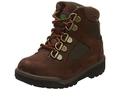 Timberland 6-Inch Leather and Fabric Field Boot (Toddler/Little Kid/Big Kid),Brown Nubuck with Green,4 M US Toddler (Timberland Infant Boots)