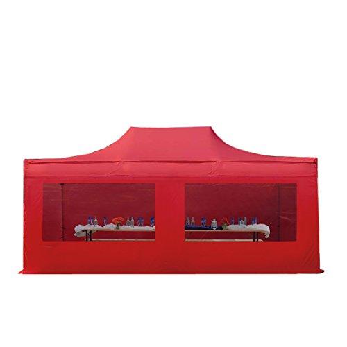 Faltpavillon Faltzelt Pavillon Klappzelt 4x6 m - ca. 400g/m² Plane + ca. 50mm Aluminiumgestänge - Zelt Partyzelt Gartenzelt Sonnenschutz Markstand Popup, mit 4 Seitenteilen (Panorama), rot