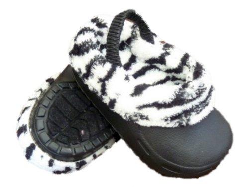 Surf Bay Baby Meisjes Zwart Plastic Zebraprint Klompen Baby Schoenen