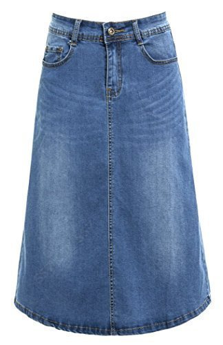 SS7 Nouvelles Femmes Jeans Jupe Midi, Bleu Denim, Tailles 34 pour 14 Jean Bleu