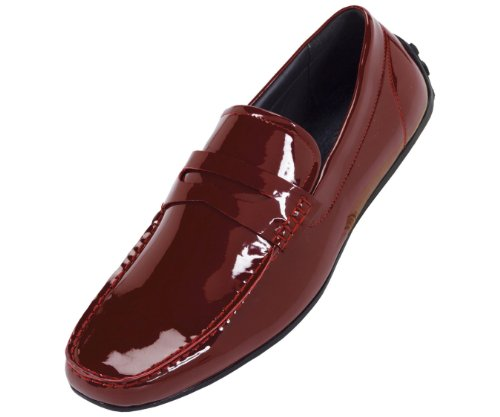 Amali Mens Penny Loafer Style Driver in Red Patent with Black Sole : Style 3001 Red-005 8.5 D (M) US