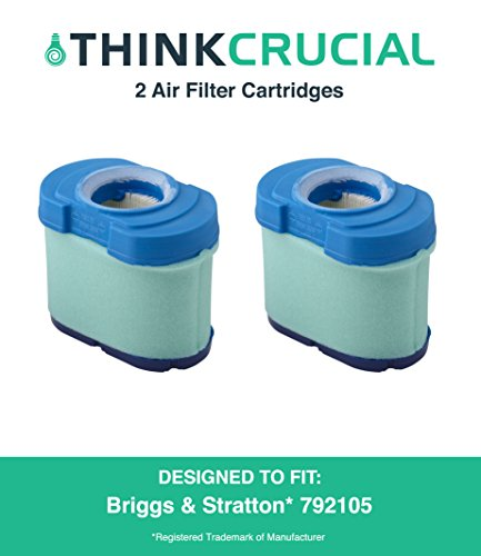 2 Durable Briggs & Stratton 276890, 792105, 4233, 5405H & 5405K Air Filter Cartridges Fit V-Twin 16.0-27.0 HP Engine, John Deere GY21057 & MIU11515, 5 x 2.75 x 4.75 in, Part # 792105, by Think Crucial