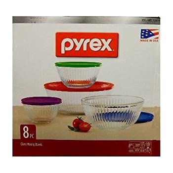 Amazon.com: Pyrex 8-piece 100 Years Glass Mixing Bowl Set (Limited ...