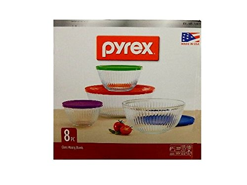 Pyrex 4-piece 100 Years Glass Mixing Bowl Set (Limited Edition) - Assorted Colors Lids (Pyrex 10 Piece Storage Set With Lid)
