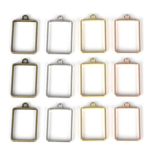 (OBSEDE Rectangle Open Bezel Pendants Charms Resin Molds for Jewelry Findings DIY Pressed Flower Frame Hollow Trays 20pcs)