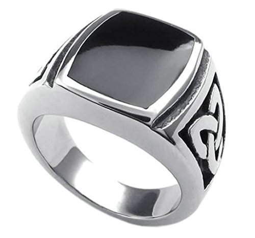 Aooaz Jewelry Finger Ring Stainless Steel Silver Black Two Tone Celtic Knot Signet Ring for Men