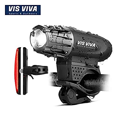 Vis Viva USB Rechargeable Bike Light Set - Powerful 300 Lumens LED Bicycle Headlight & Tail Light - Super Bright Front Light & Rear Light Cycling Safety