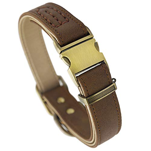 Fourhorse Basic Classic Luxury Padded Leather Dog Collar,The Seatbelt Buckle,Soft and Comfort,for Large Medium Small…