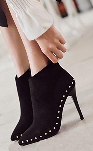 Mode Femme Style Noir Low Aisun Rivets Mariage Boots Bottines 6pF5Fqx7