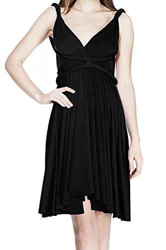 Dress Little Black Convertible (FYMNSI Women's Convertible Multi Way Transformer/Wrap Infinity Solid Cocktail Evening Gown Homecoming Short Dress)