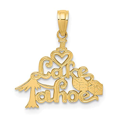 14k Yellow Gold Polished & Engraved I HEART LAKE TAHOE Charm