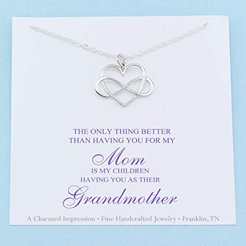 Personalized Grandmother Necklace • Sterling Silver • Heart with Infinity Charm • Handcrafted Keepsake Gift • Meaningful Grandma Jewelry