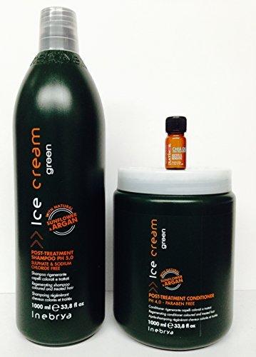Inebrya Ice Cream Post-treatment Shampoo Ph 5.0 33.8 Oz and Post-treatment Conditioner Ph 4.0 33.8 Oz with Sunflower & Argan