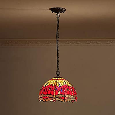 Red Glass Pendant Lights, Tiffany Style Country Retro Lighting Fixture Bedroom Balcony Restaurant Creative Light
