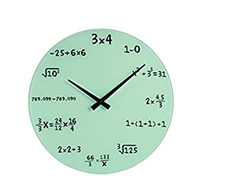 c8fae331a287 Reloj de pared blanco numérico de cristal Matemáticas Escuela Casa Oficina  diámetro 35 cm  Amazon.es  Hogar