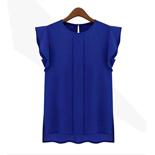 Wintialy Womens Lady Casual Loose Chiffon Short Tulip Sleeve Blouse Shirt (Tulip Sleeve Top)