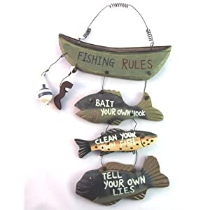 "Wood Fishing Rules Sign - Fish Boat Nautical Decor New Approximately 8"" X 14"" 102"