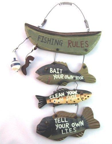 Fishing Home Decor - Wood Fishing Rules Sign - Fish Boat Nautical Decor New Approximately 8