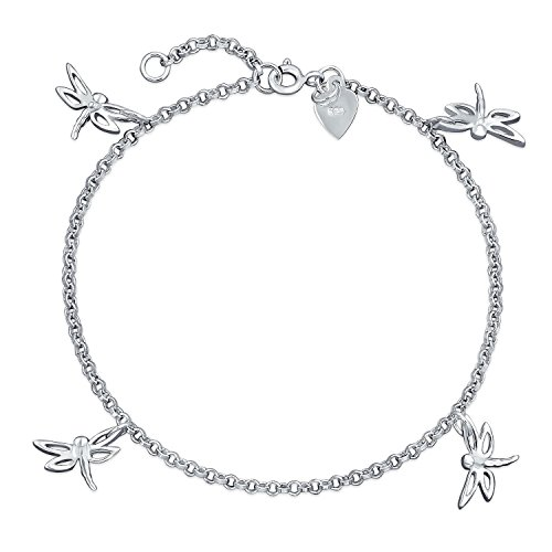 4 Multi Dragonfly Anklet Dangle Charm Ankle Bracelet For Women 925 Sterling Silver 9 To 10 In - Dragonfly Bracelet 925 Silver