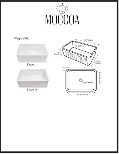 TRUE FIRECLAY Stria Reversible 30'' Apron Front Sink by MOCCOA, Farmhouse Kitchen Sink White … by MOCCOA (Image #7)