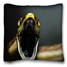Custom Characteristic ( Animals snake jaws close ) Custom Zippered Pillow Case 16x16 inches(one sides) from Surprise you suitable for Full-bed PC-Yellow-2252