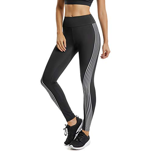 (FITTOO Women's Side Iridescent Strips Printed Workout Leggings High Waist Yoga Pants with Reflective Material #1 Black L)