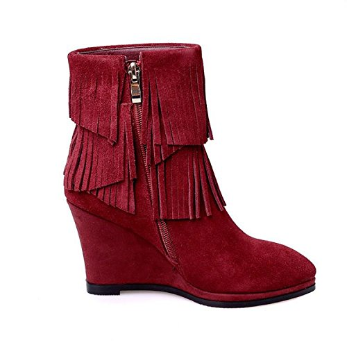 new pointed ankle zipper women's boots 120W and boots boots Fall leather RED winter high side tassel NSXZ heeled 4wqY6tgpx