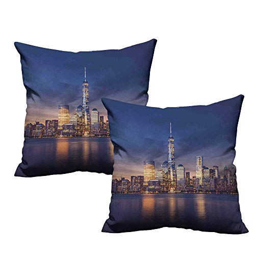 """Acelik Cityscape Square Throw Pillow Covers New York City Manhattan After Sunset View Picture with Skyline Reflection on River Super Soft and Luxury, Hidden Zipper Design 24""""x24"""" 2 Pcs Navy Gold"""