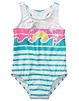 Gymboree Girls' Toddler 1-Piece Swimsuit, White 2T
