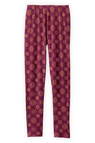 Fair Indigo Fair Trade Organic Cotton Ankle Length Leggings (XS, Boysenberry Mandala)