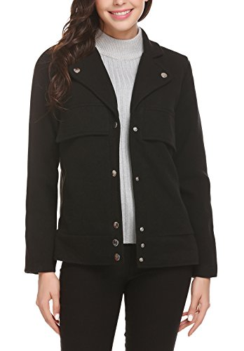 Easther Women's Wool Jacket Double Breasted Overcoat Long Sleeve Peacoat Jacket Black Short Jacket Large - Short Peacoat