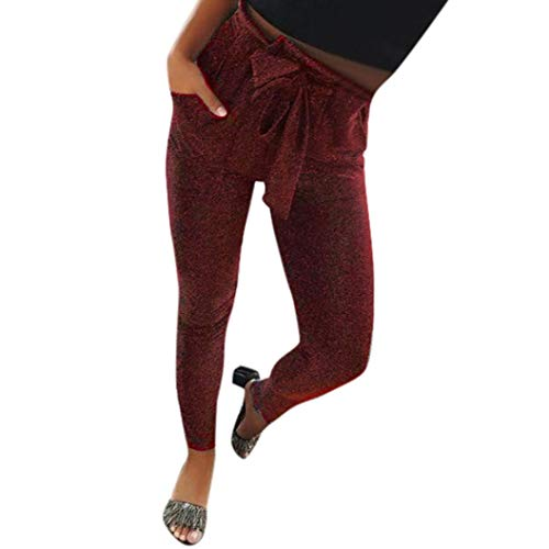 Elastico Skinny Leggings Up Neri Alta Tagliata Eleganti Rosso Leggins Lucidi Pantaloni Pants Donna Vita Ragazze Push vR8xAp