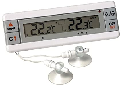 Fridge and Freezer alarm thermometer with dual sensors - displays  temperature of 2 appliances