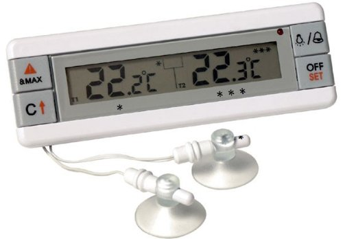 Fridge and Freezer alarm thermometer with dual sensors - displays temperature of 2 appliances ETI 810-200