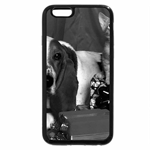 iPhone 6S Case, iPhone 6 Case (Black & White) - Dog and kitten at Christmastime
