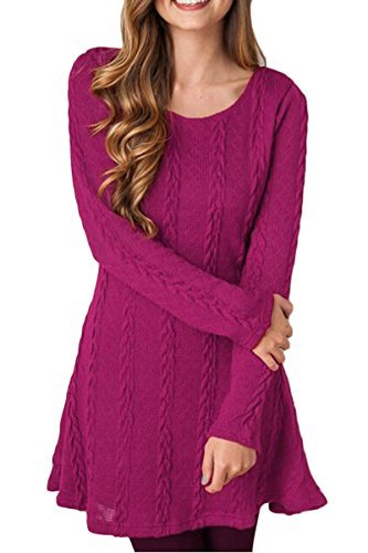 Mulisky Women Plain Crewneck A Line Knitted Sweater Long Sleeve Dress Rose Red M