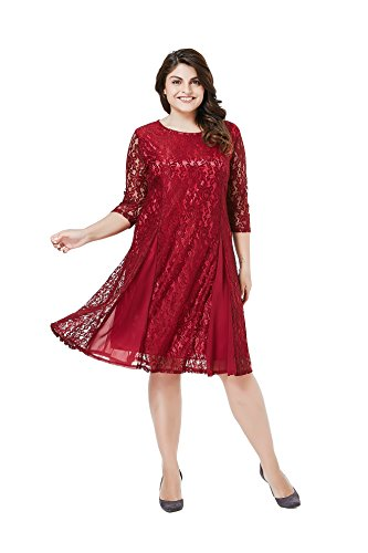 ESPRLIA Plus Size Women's Lace 3/4 Sleeves Midi Business Cocktail Short Formal Lace Dress (1X, Red)