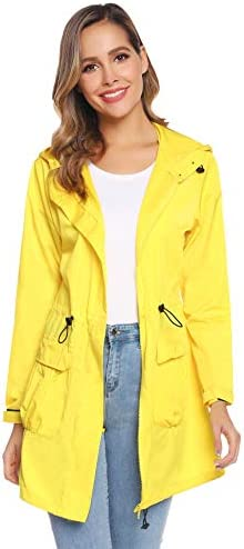 Aibrou Women's Lightweight Water-Resistant Raincoat Hooded Trench Jacket With Pockets