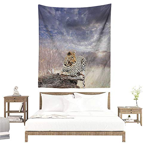 Safari Wall Tapestry for Bedroom Leopard on Tree Trunk Under Last Sun Rays of The Day Sunset Dark Cloudscape Occlusion Cloth Painting 70W x 93L INCH Grey and Beige