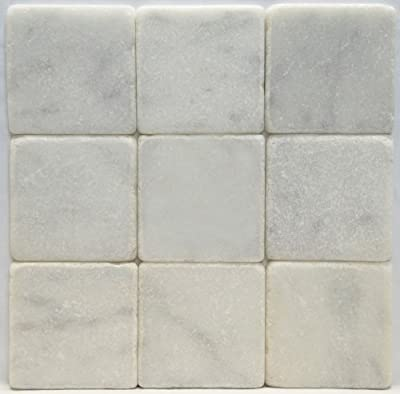 Bianco Carrara White 4 X 4 Tumbled Marble Tile from Oracle Tile & Stone