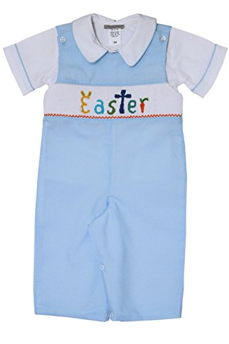 Carouselwear Boys Easter Bunny Longall Overalls with Hand Smocking
